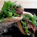公園のベンチで食べたい♪「ペッパーステーキのピタサンドイッチ」