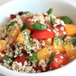 プリッとした食感が楽しい「麦・トマト・オレンジのサラダ」