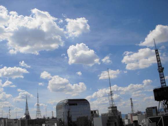 clouds and towers