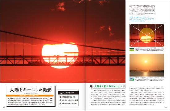 夕暮れの瀬戸大橋。太陽の中を列車が走る。