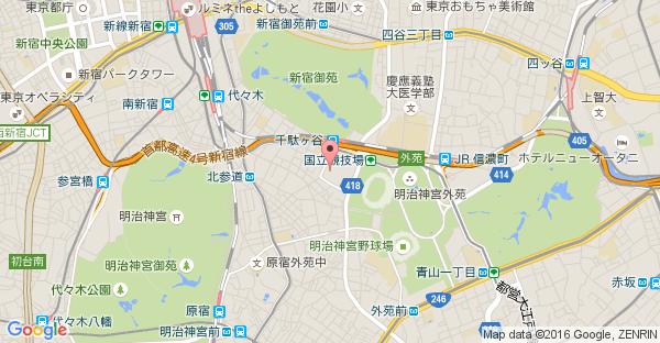 Google Map of 東京都渋谷区千駄ヶ谷1-17-1