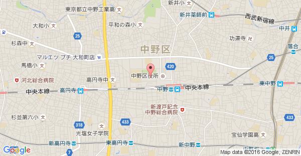 Google Map of 東京都中野区中野4-10-2 中野セントラルパークサウス 1F