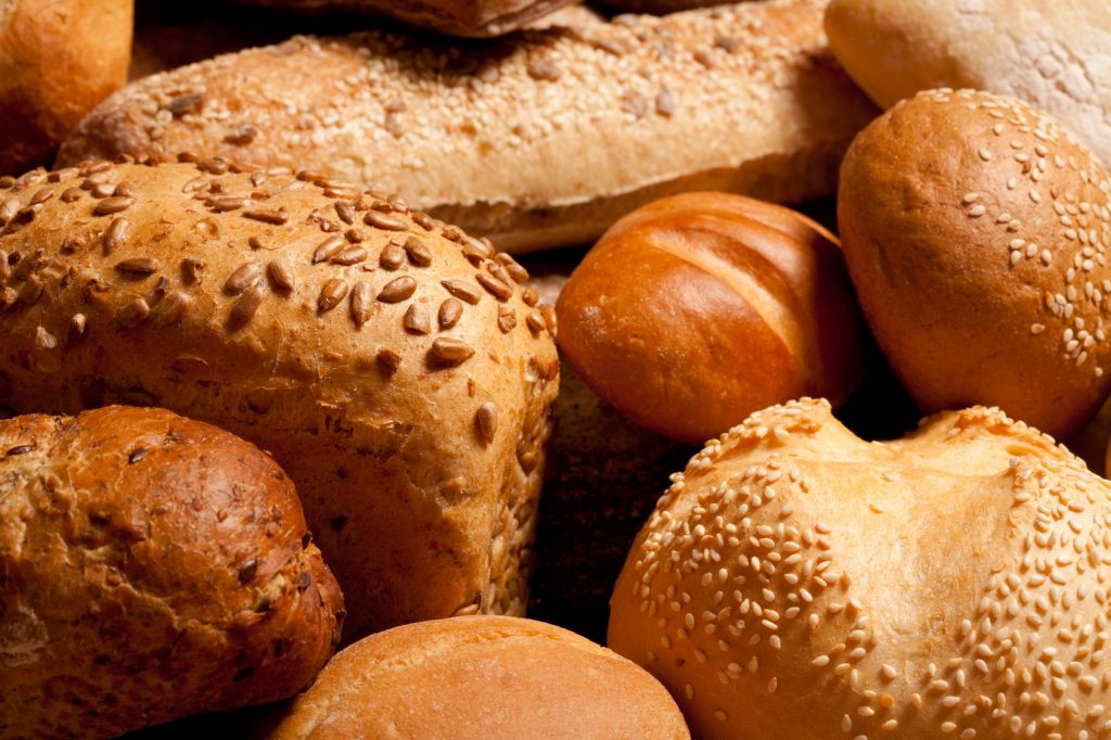 assortment of baked bread background