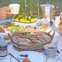 休日は家族3人でお庭で朝食を。わたしのお気に入りの朝時間