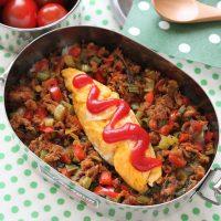 缶詰&残り野菜で♪のっけて簡単「ツナ缶と野菜のカレー丼」弁当