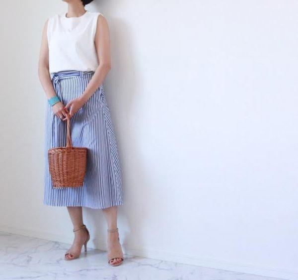 朝時間 柄物 ストライプスカート
