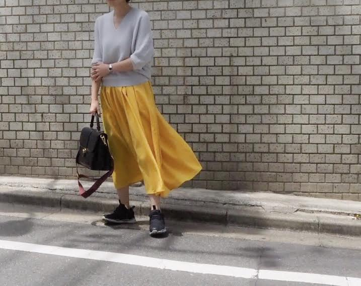 朝時間 カラーボトム イエロースカート
