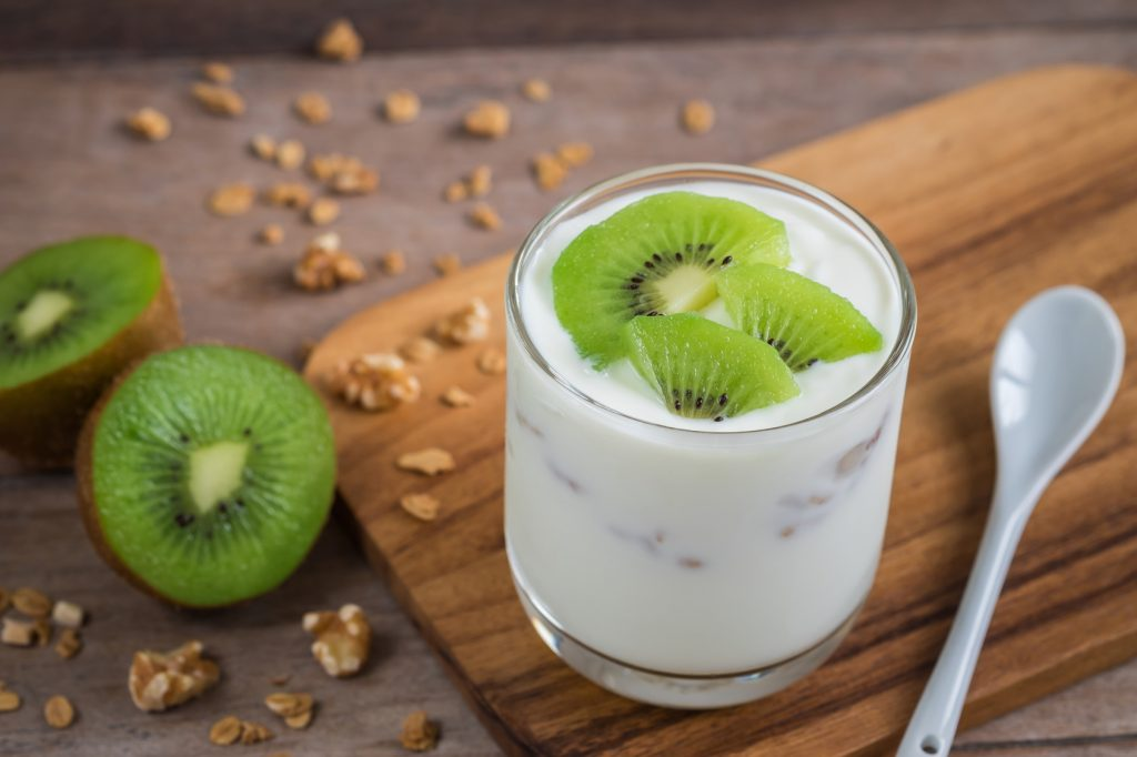 Yogurt with kiwi in glass
