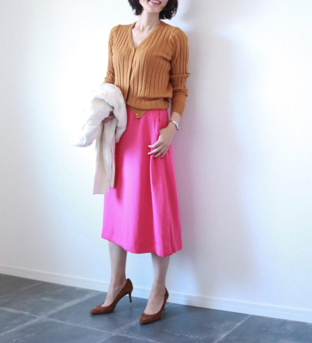 朝時間 秋 カラースカート ピンク