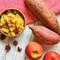 時短でホク甘♪食物繊維たっぷり「さつまいもとりんごのレンジ煮」