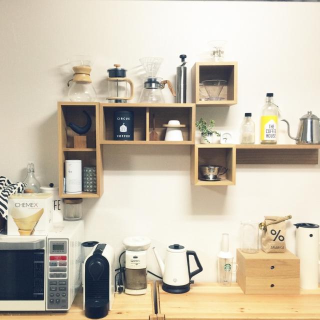 【2】箱型収納をキッチンのディスプレイ棚に