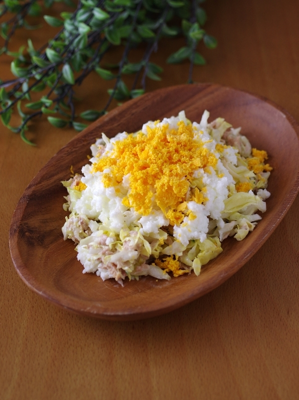 刻むだけで簡単!「キャベツとツナのミモザサラダ」レシピ