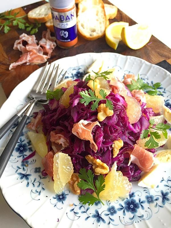 豊菜大盛りモーニングサラダ! 紫キャベツ、胡桃、生ハム、ニューサマーの爽やかサラダ #金魚の肴 by:青山 金魚さん