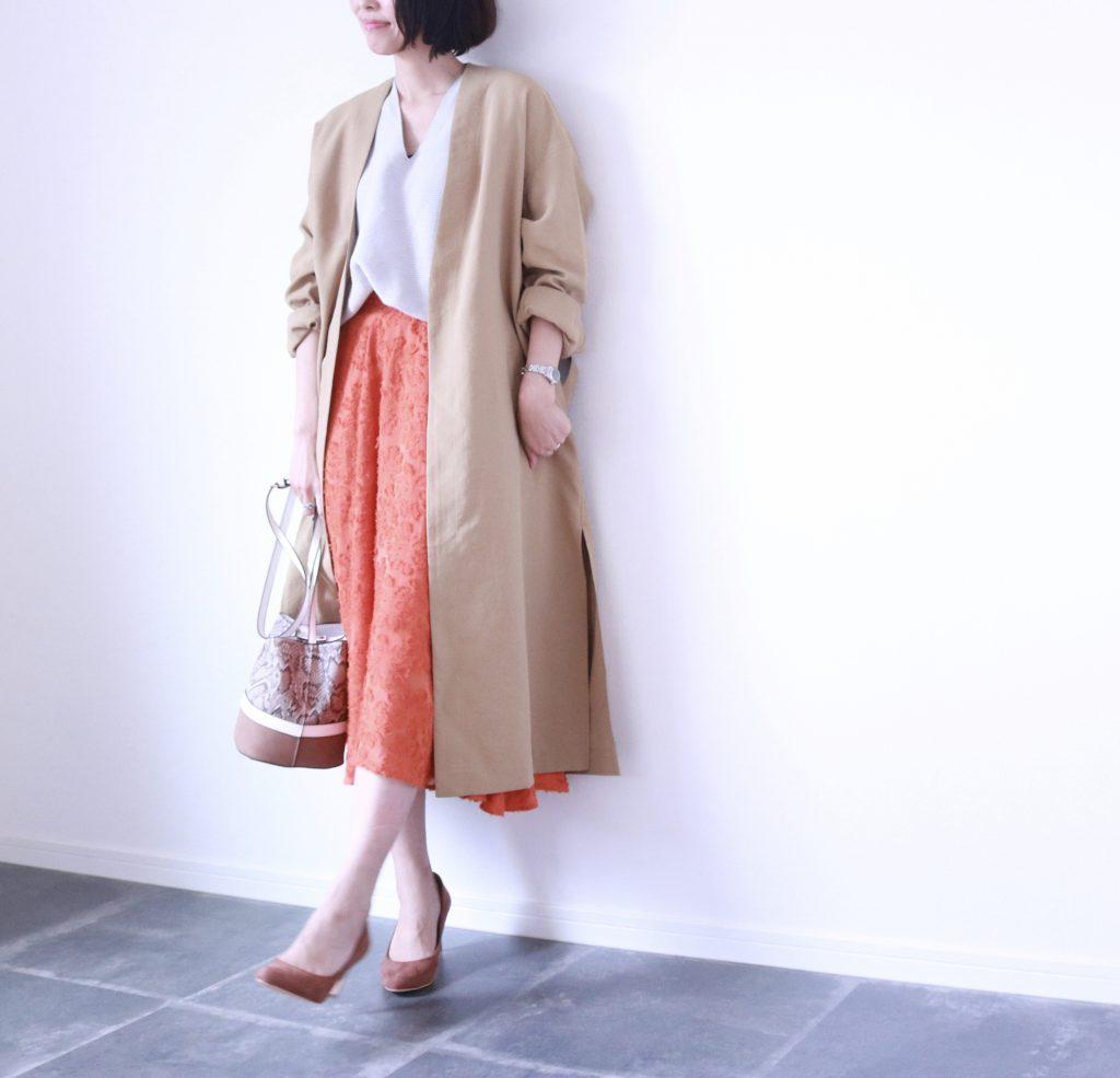 暖色スカートが正解!プチプラ「雨の日」コーデ