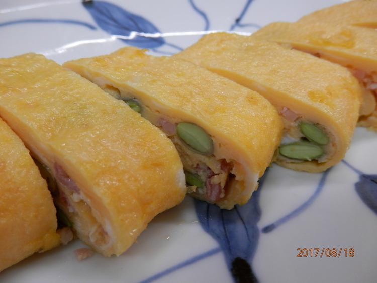 お弁当に人気♪枝豆とベーコン卵巻き ~by:kaana57さん