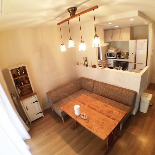 L字型ソファ+テーブルのカフェ風インテリア