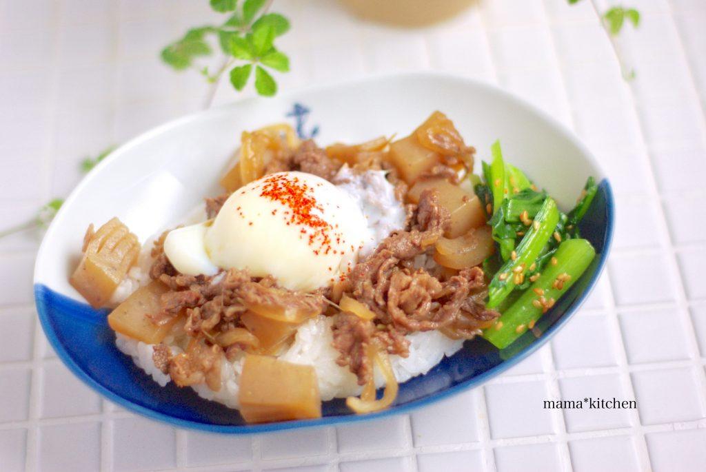 フタ付き鍋で簡単「温泉たまご」の作り置きをのせた丼ご飯