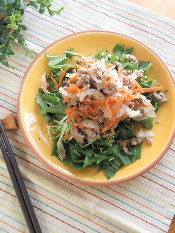 甘辛新玉そぼろと水菜のサラダ by:まんまるらあてさん
