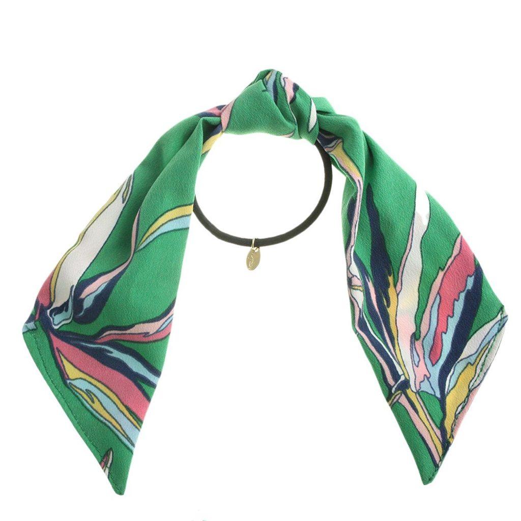 [ヴァンテーヌ] VINGTAINE スカーフ柄 リボン ヘアゴム ロング レトロ