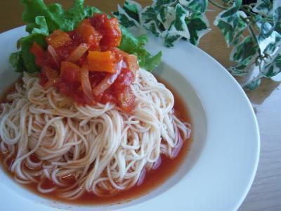 ひんやり☆甘~い。。♪ラタトゥイユ☆冷製トマト素麺。。♪ by:toshieさん
