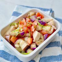 市販の白だし&レンジで簡単♪「鶏肉と野菜の和風マリネ」