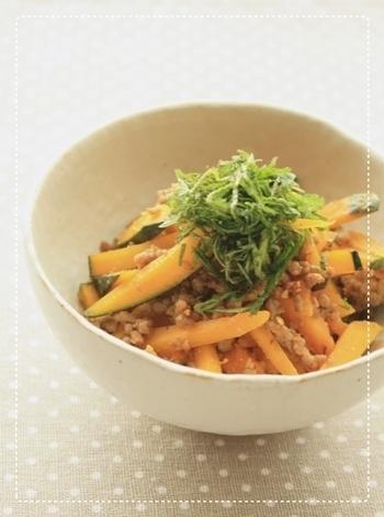かぼちゃと挽き肉のごま塩ナムル by:まめこさん