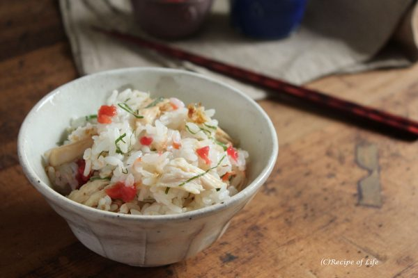 サラダチキンと梅と大葉の混ぜごはん by:河合真由子さん