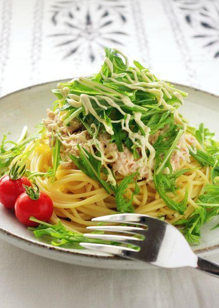 めんつゆで作る!水菜のツナおろしスパゲティ by:高羽ゆきさん