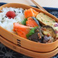 火を使わず簡単調理!「レンジ蒸し茄子のおかか醤油」のお弁当