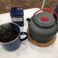 キャンプ場での朝お茶