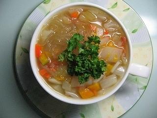 かぼちゃ野菜コンソメスープ春雨レシピ