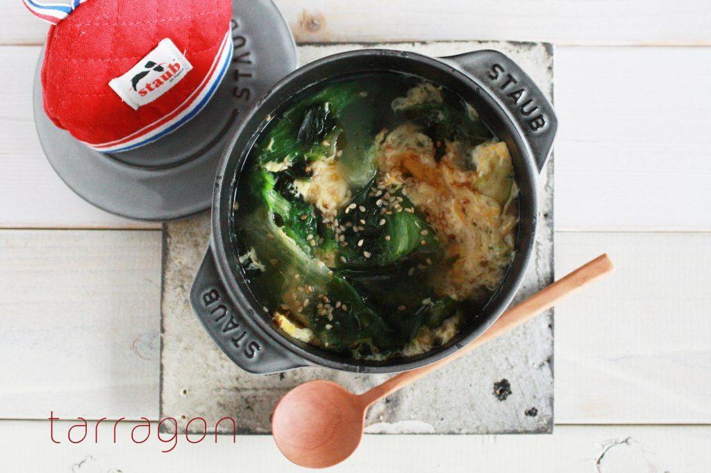 たった5分!包丁いらずで具だくさん「ワカメとレタスのたまごスープ」 by:タラゴン(奥津純子)さん