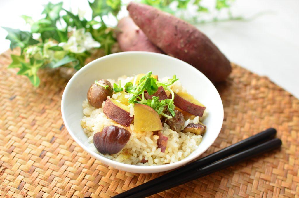 市販の甘栗でお手軽ほくほく☆「サツマイモと栗の炊き込みご飯」
