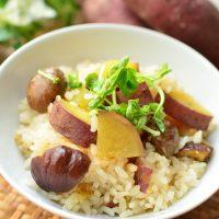 市販の甘栗でホクホク増し増し♪「サツマイモと栗の炊き込みご飯」