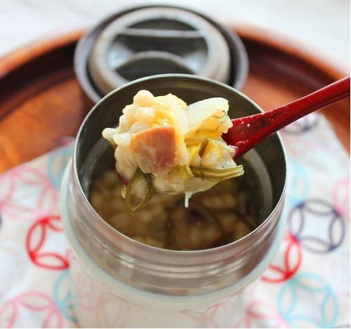 ダイエットにおすすめ♪「白菜とベーコンの味噌リゾット」スープジャー弁当