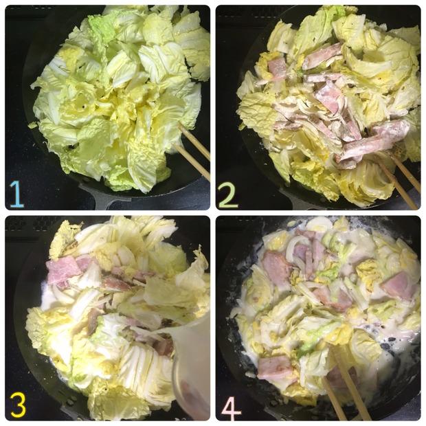 生クリーム&バター不使用♪「ベーコンと白菜のクリーム煮」の作り置きの作り方
