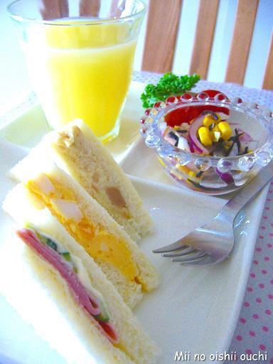 3種サンドだよ♪朝のワンプレート by:みぃさん