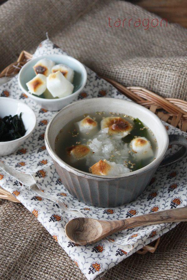 胃にやさしくボリューム満点「お餅とワカメのおろしスープ」 by:タラゴン(奥津純子) さん