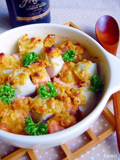 鮭と里芋の味噌バター焼き♪ガーリック風味 by:みぃさん