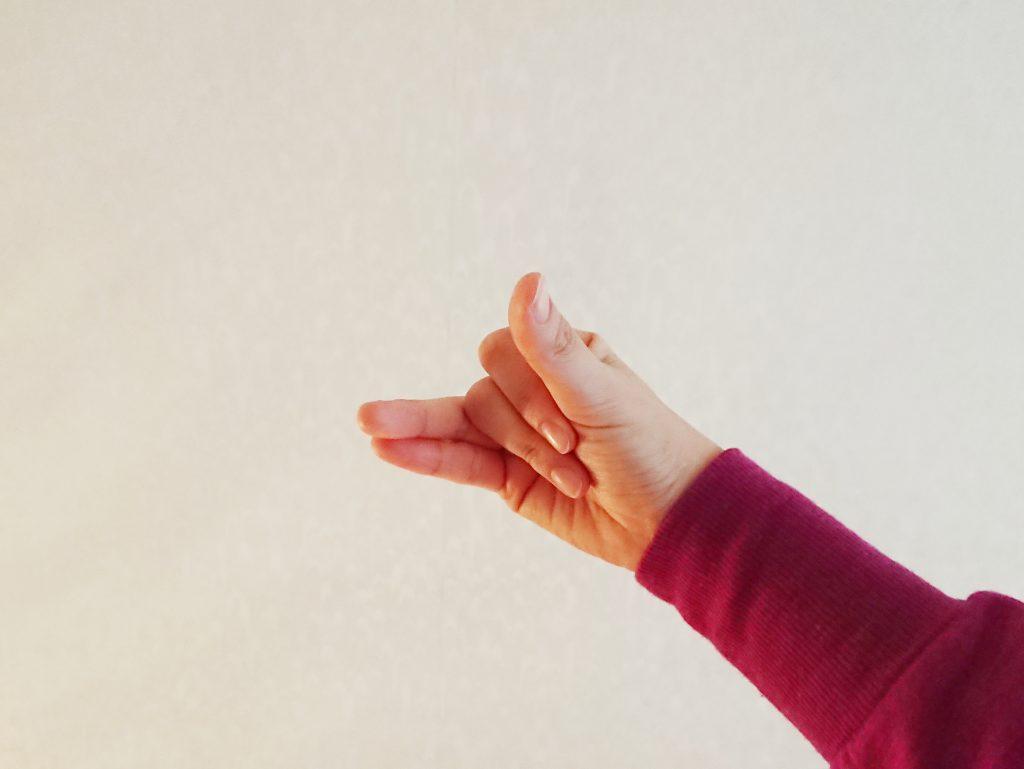 左手は膝の上に置き、右手は形を作ります。