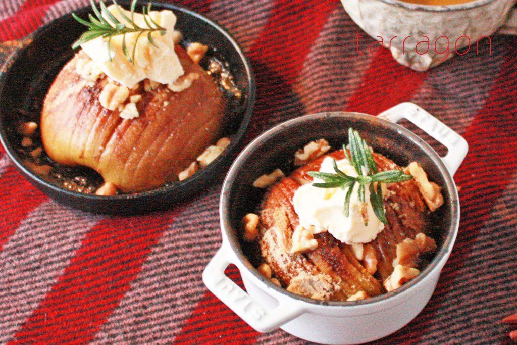 レンジとトースターで熱々おいしい♪朝10分で簡単「りんごのハッセルバック」