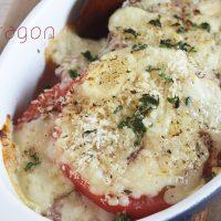 5分でできる簡単ジューシー温野菜レシピ♪「トマトのアンチョビチーズ焼き」