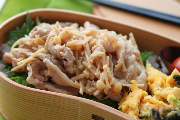 フライパンひとつ♪のせるだけで簡単「豚しゃぶえのき丼」弁当