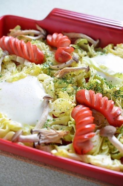 春キャベツとウインナー&卵のグリル焼き by:槙 かおるさん