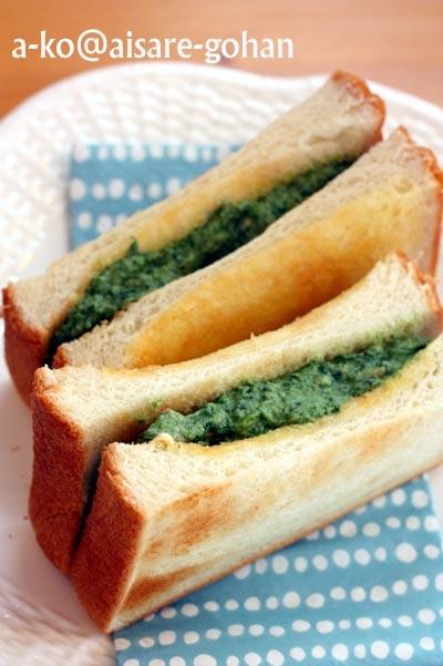 """「食パンde簡単♪春菊とツナのパニーニ」""""超お気に入りの美味しさです♪""""かんざきあつこ(a-ko) さん"""