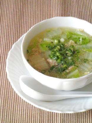 3分煮るだけ☆鶏挽肉と白菜の春雨スープ by:Y'sさん