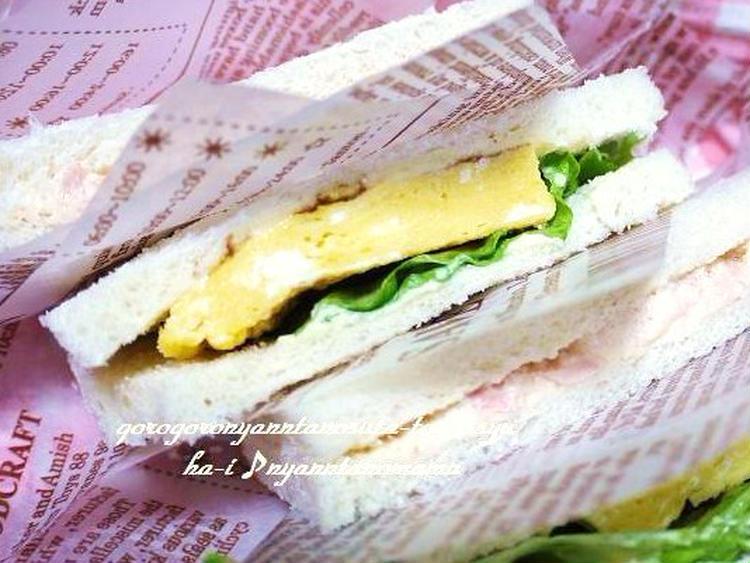 厚焼き卵とツナマヨサンド>お弁当や朝ご飯にも by:はーい♪にゃん太のママさん