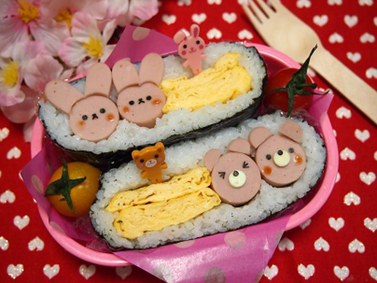 (デコおにぎらず?玉子焼きと魚肉ソーセージ by:とまとママさん)