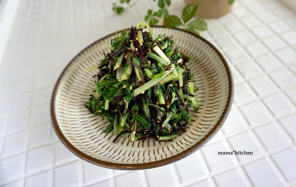 レンジで完結!簡単作りおき「水菜とひじきの中華和え」