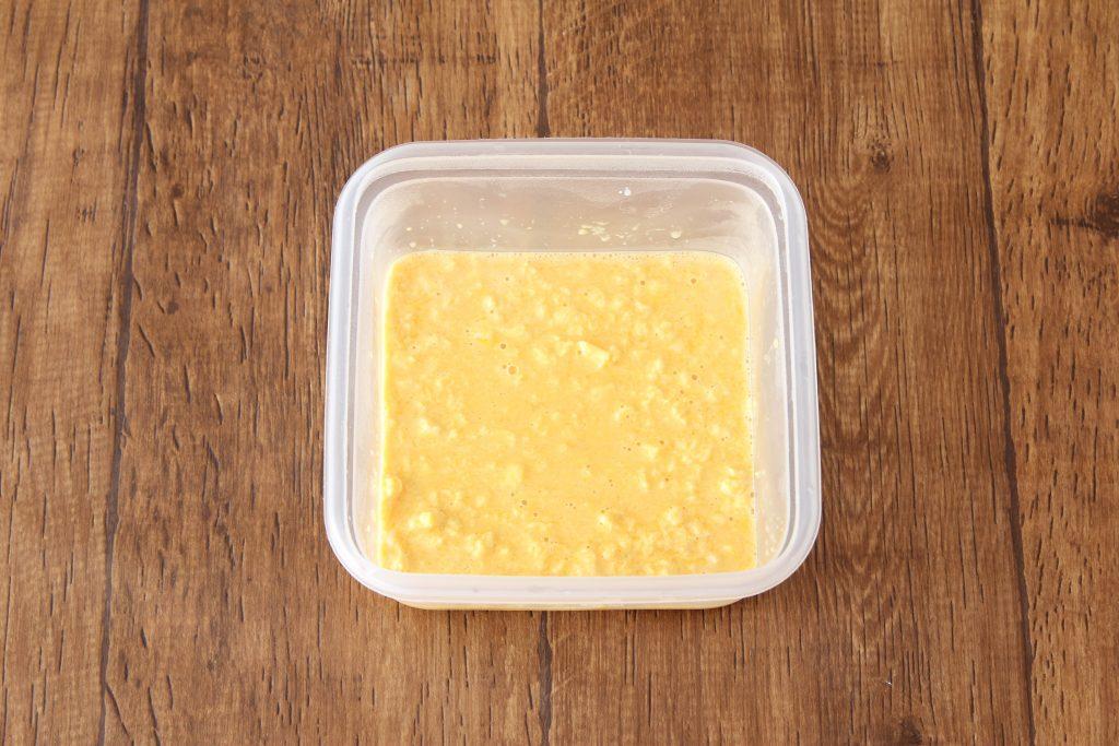 レンジ加熱した卵液